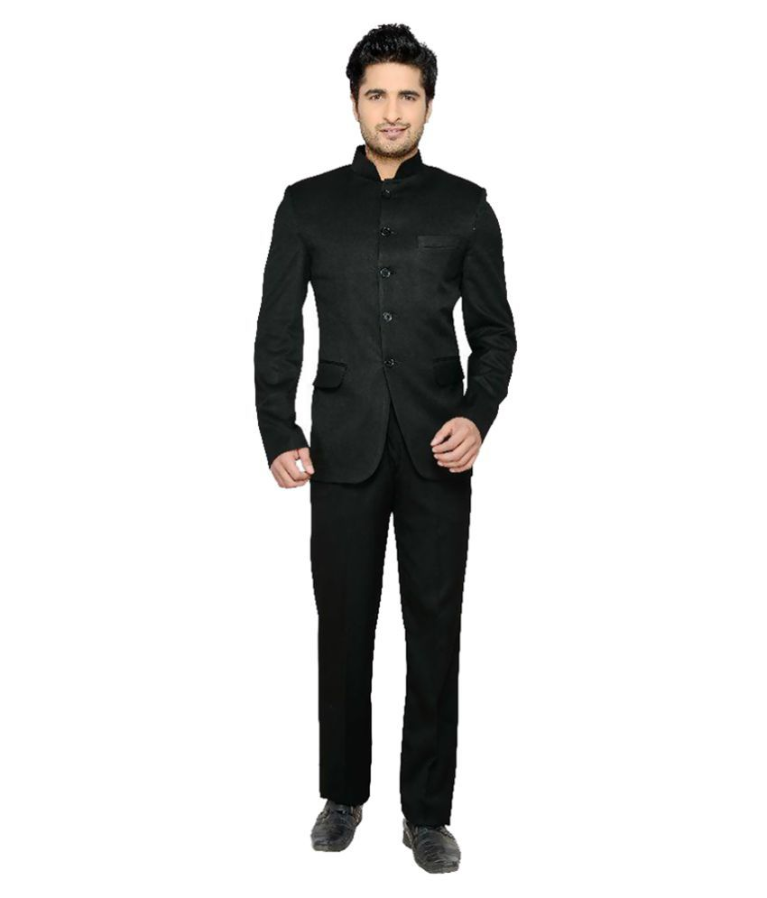 Lee Marc Black Solid Formal 2 Piece Suits Pack of 2