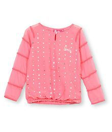Barbie girls party blouse with sequins and pompoms.