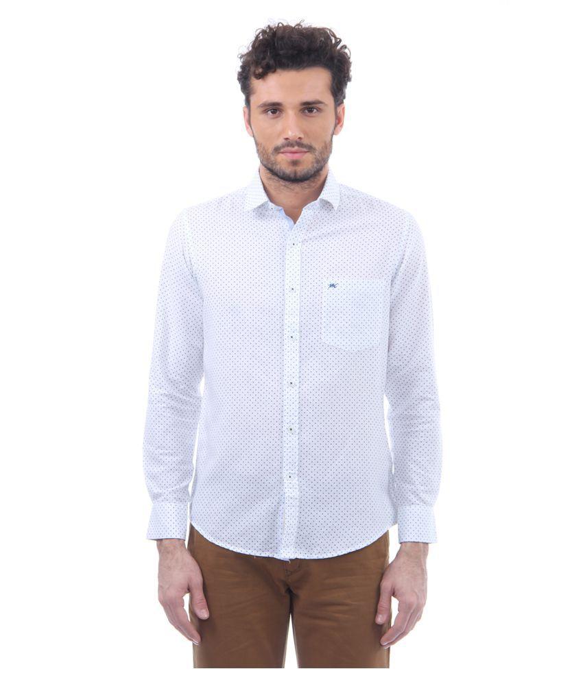 Monte Carlo White Casual Slim Fit Shirt