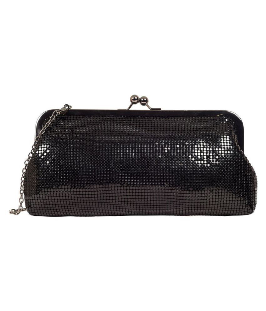 Lino Perros Black Faux Leather Box Clutch
