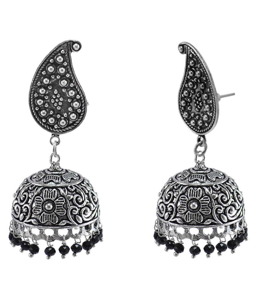 Black Beaded Indian Pear Studs Jhumki-Handmade Hook Earrings-Jaipur Jewellery Silvesto India PG-111830