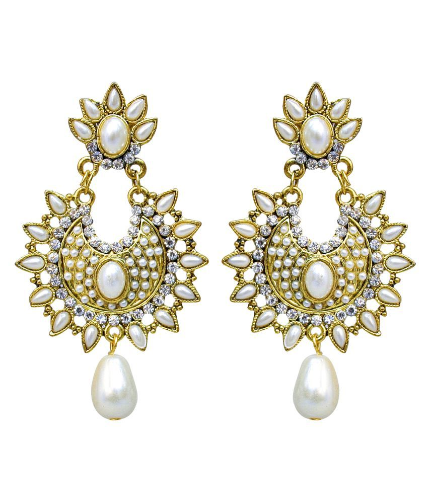 Lucky Jewellery Gold Tone Partywear Stud With Pearl Stone Earring