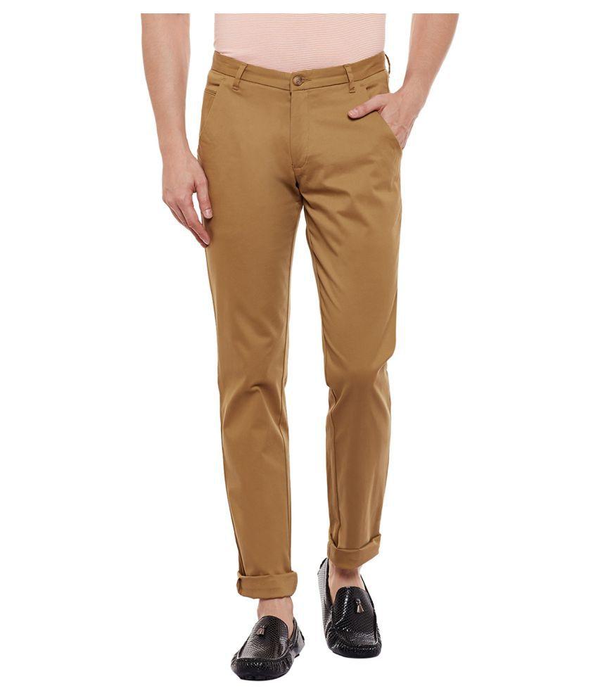Numero Uno Beige Slim -Fit Flat Chinos