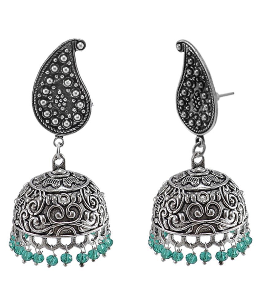 Silvesto India Ethnich Pear Studs Jhumka With Small Beads Green Aqua Jaipur Collectible Jewellery PG-111875