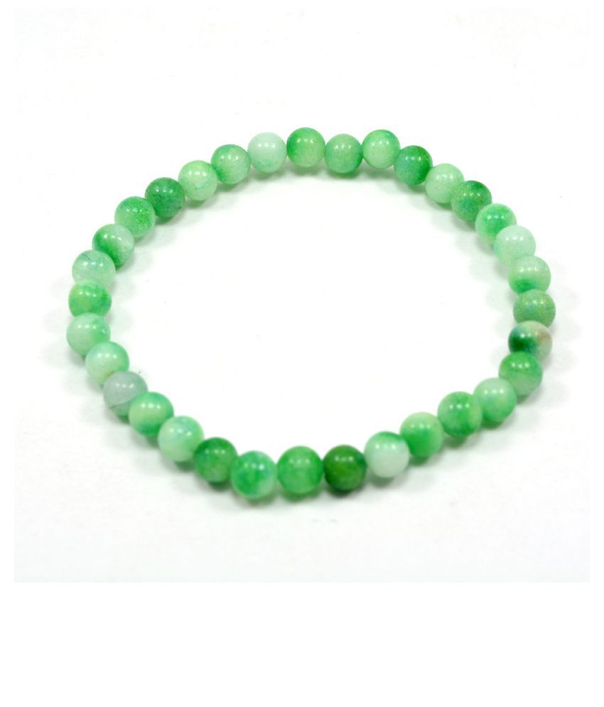 Silvesto India Green Quartz Gemstone Stretchable Bracelet PG-112309