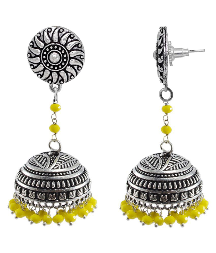 Yellow Crystal And Round Jhumki Earrings-Bohemian Jewellery Silvesto India PG-112233