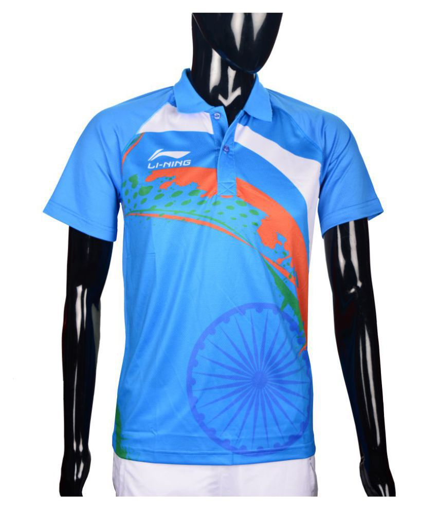 Li-Ning Blue Polyester Polo T-Shirt