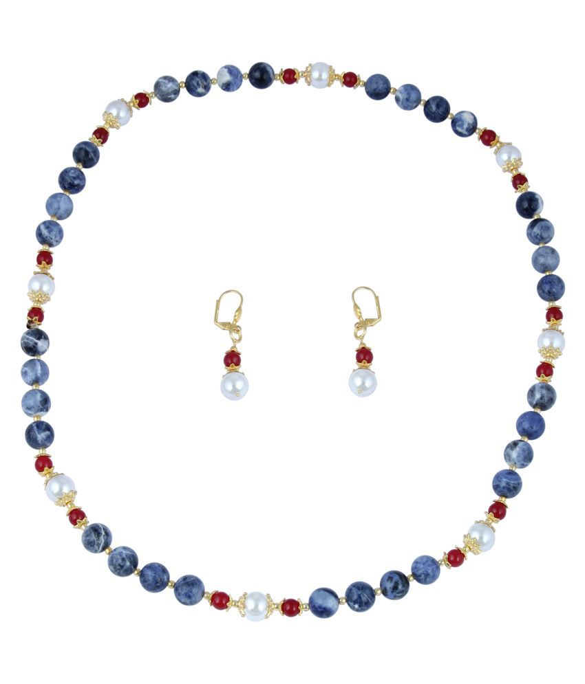 Pearl Necklace Set Plotted With Taiwan Shell Pearl,Mahroon Jade And Sodalite In Round Shape With Sublime Lever Back Earrings