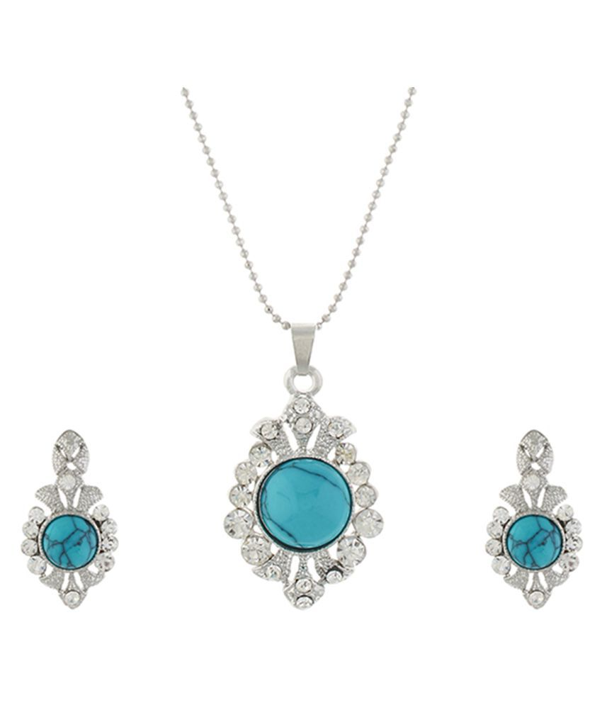 One Stop Fashion Green and Silver colour Drop design Pendant Set for girls and women
