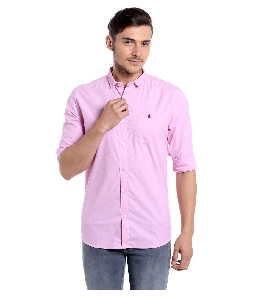 Fast n Fashion Pink Casual Slim Fit Shirt