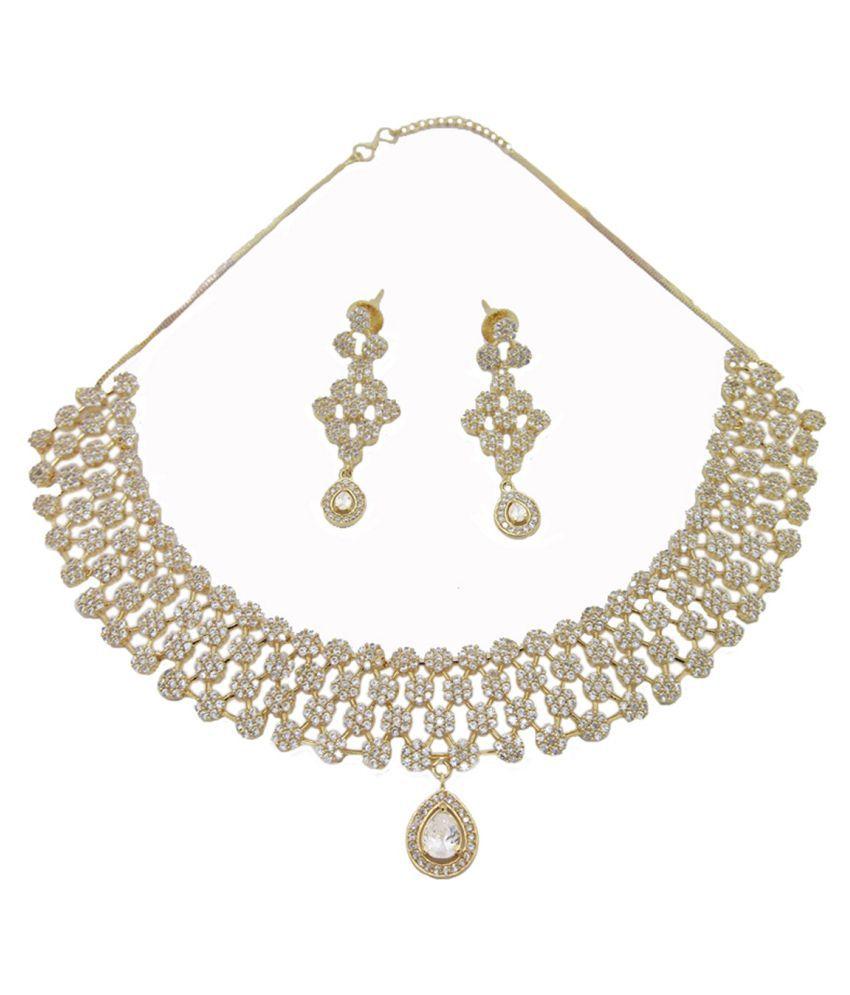 Biyu American Diamond Floral Statement gold plated necklace set