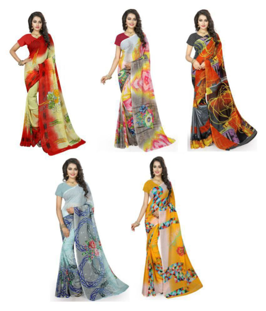 Legemat Multicoloured Georgette Saree Combos