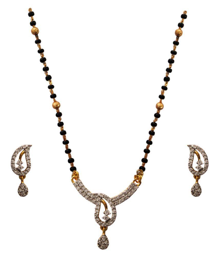 Beingwomen Black  Gold Plated Shiny CZ Fashion  Mangalsutra
