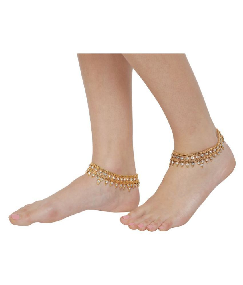 Gold Plated Rhinestone White Heavy Double story Traditional Bollywood Classic Indian Anklet for Women By GoldNera