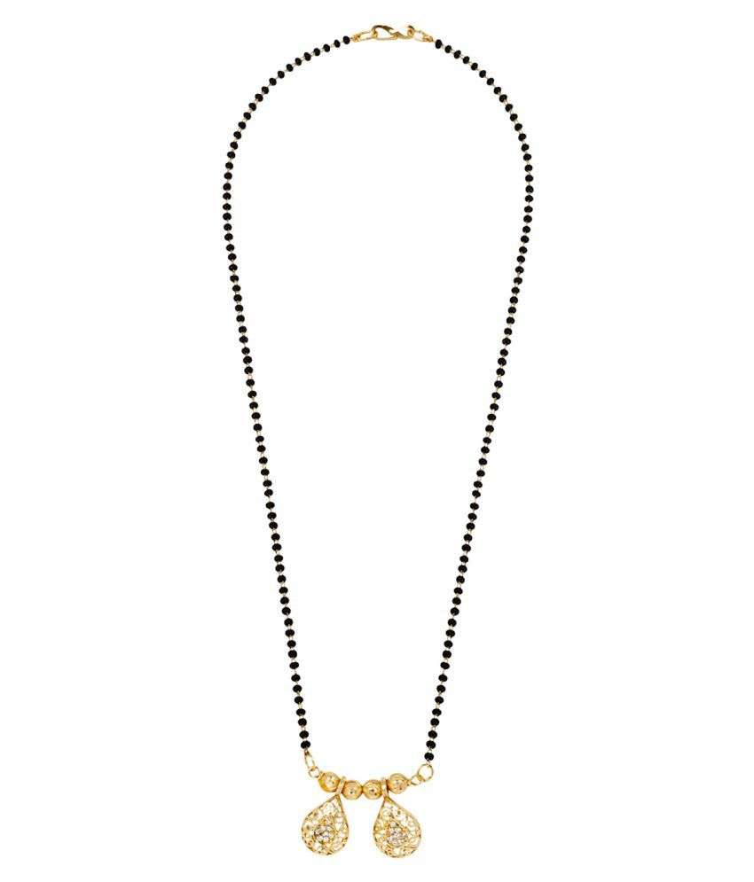 Jewels Gold Traditional Gold Plated Fancy Stylish Wedding Mangalsutra For Women & Girls