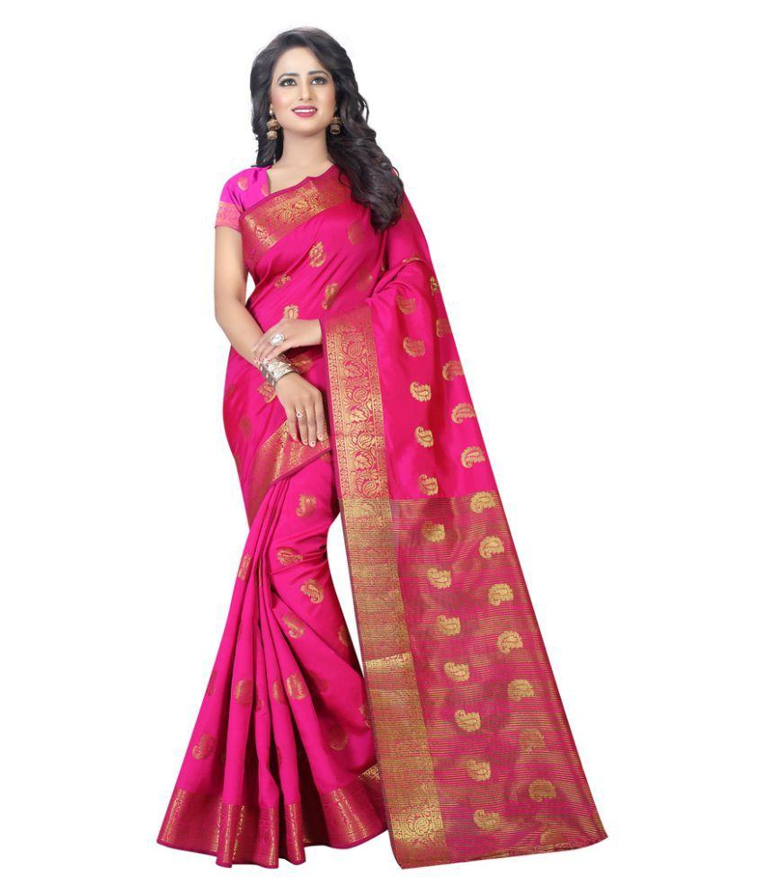 EDEAL ONLINE Pink Tussar Silk Saree