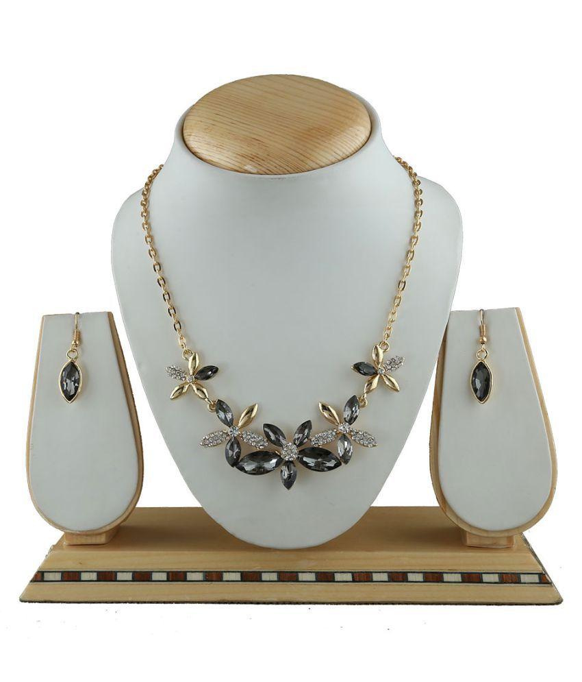 Anuradha Art Grey-Golden Finish Classy Designer Fancy Party Wear Korean Necklace Set For Girls/Women