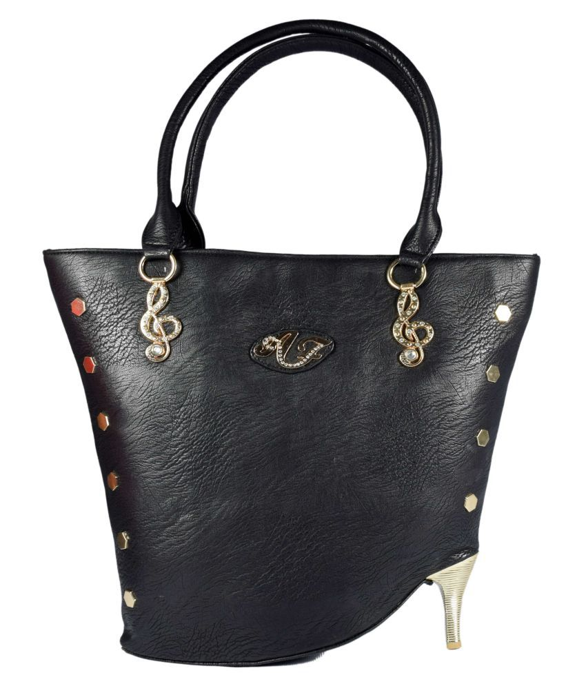 Daresay Black Faux Leather Tote Bag