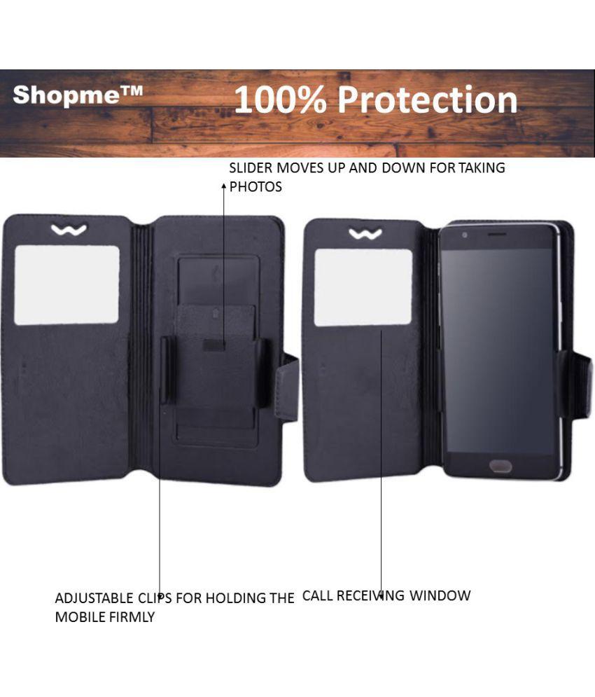 Intex Aqua I2 Flip Cover by Shopme - Black