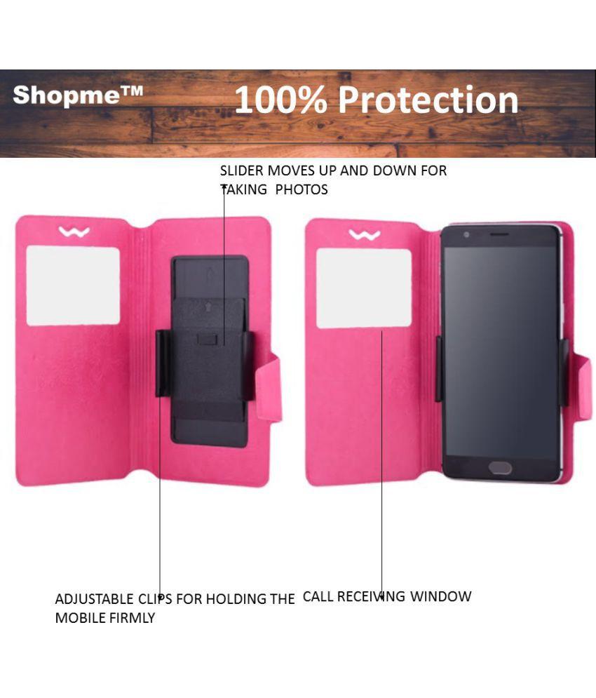 Intex Aqua Strong 5.2 Flip Cover by Shopme - Pink