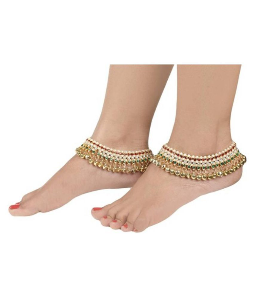 Penny Jewels Elegant Fashion Designer Wedding Stylish Anklet  Set For Women & Girl (Pair of 2) Free Size