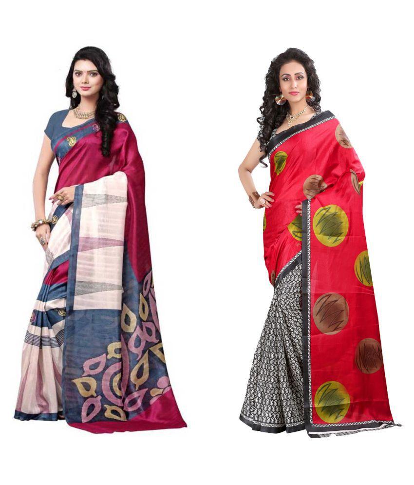Raul Zone Multicoloured Bhagalpuri Silk Saree Combos