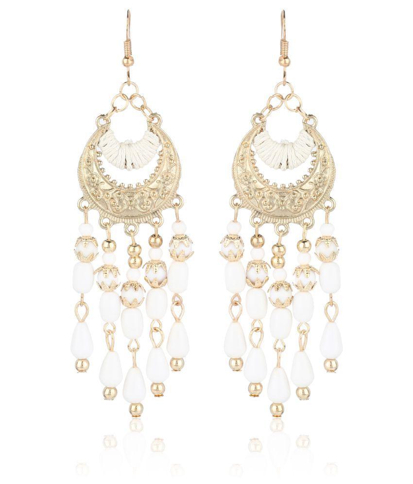 Fasherati Bohemian Crescent Moon Style Bead Drops Dangles Tassel Earrings For Women