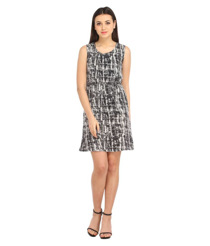 Bossify-Be Your Own Boss Poly Crepe Black A- line Dress