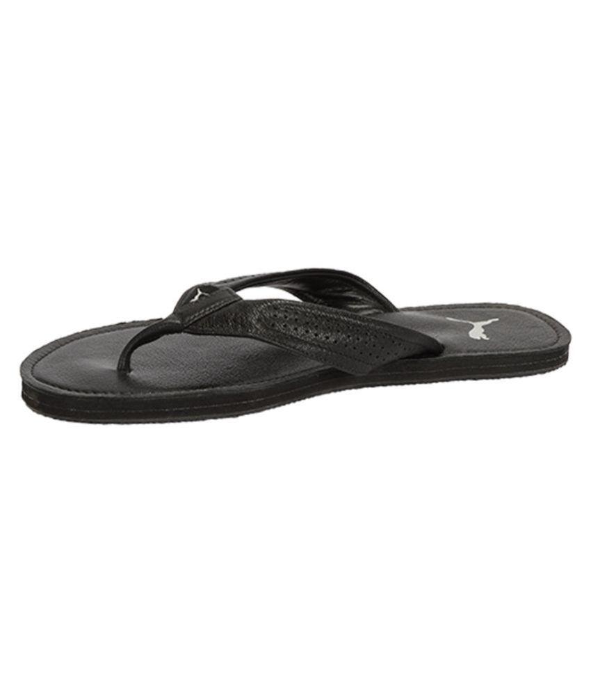 Puma Java Leather Slipper Black Thong