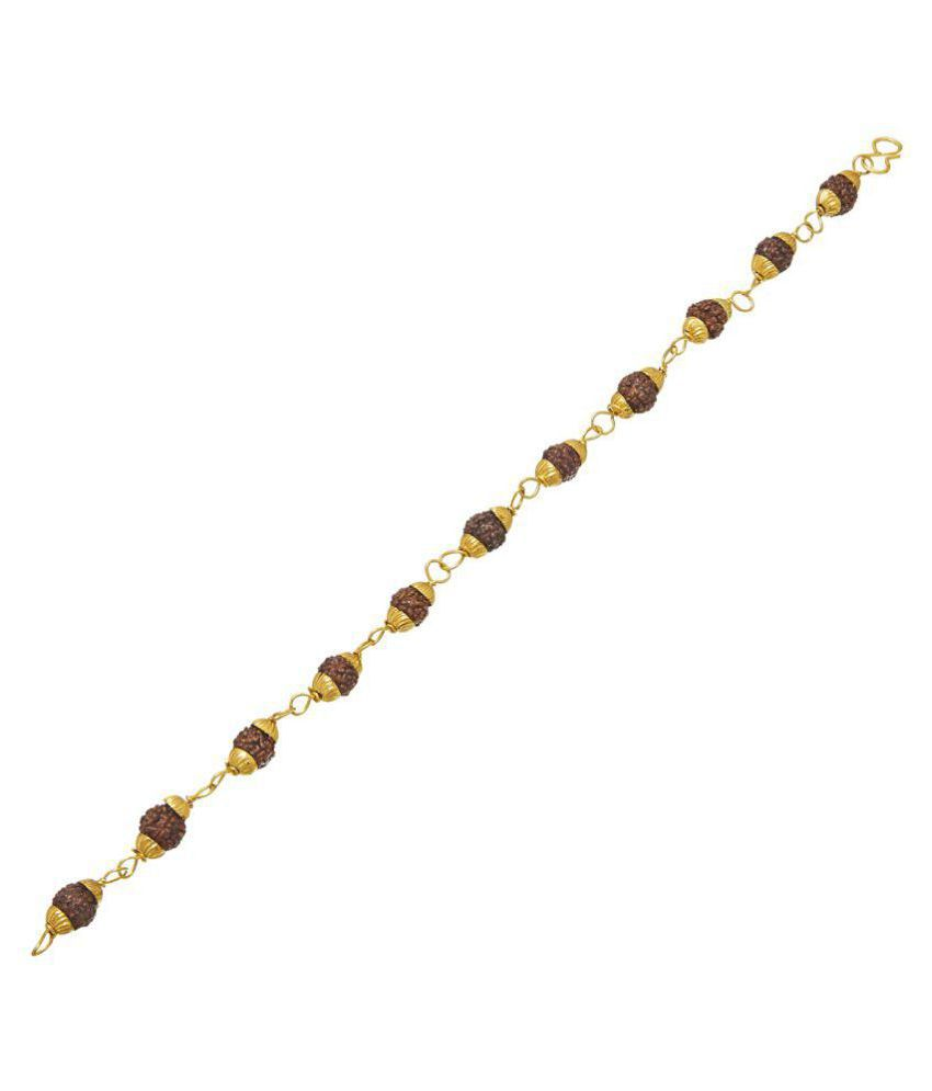 Shining Jewel 24k Gold Plated Hand Made Rudraksha Beads Bracelet For Men (SJ_3083)