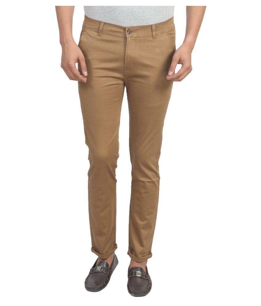 X-CROSS Brown Slim -Fit Flat Chinos