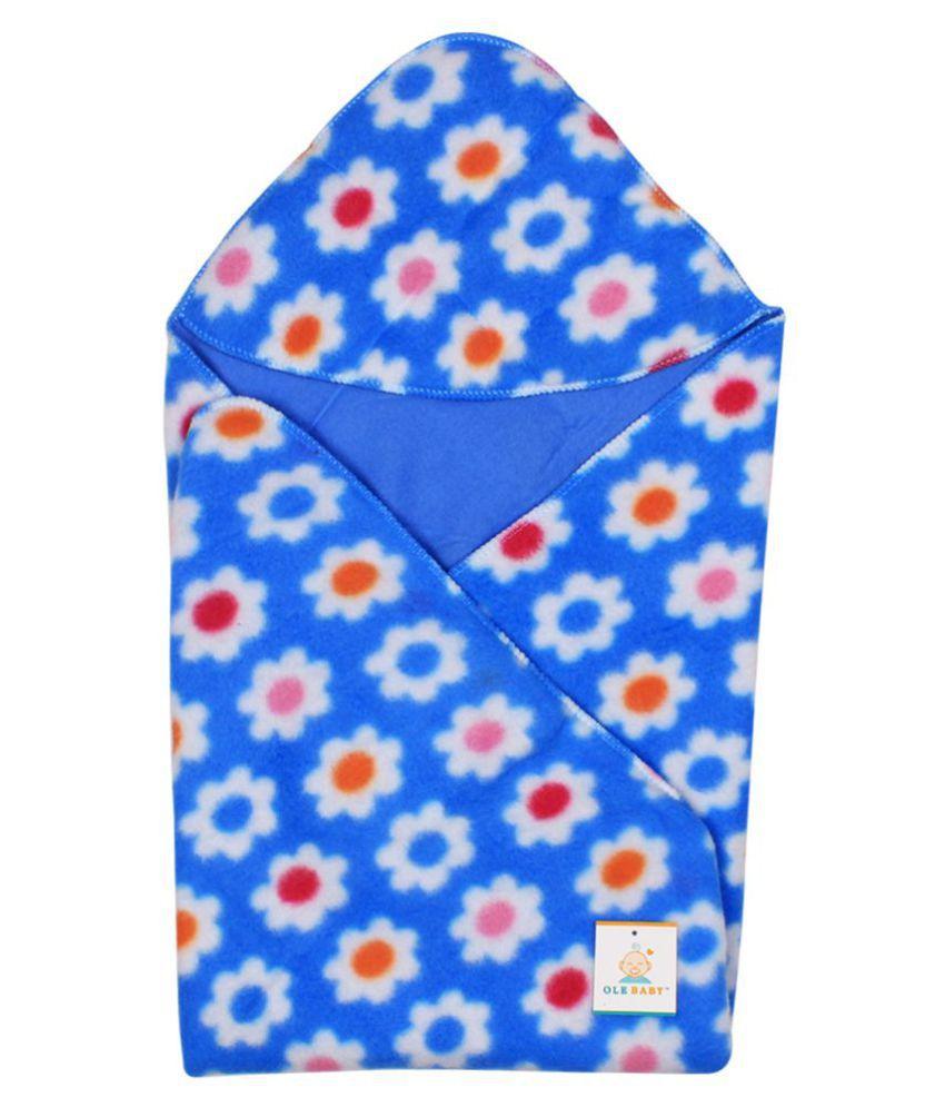 Ole Baby Blue Cotton Baby Wrap cum blanket ( 32 cm × 32 cm - 1 pcs)