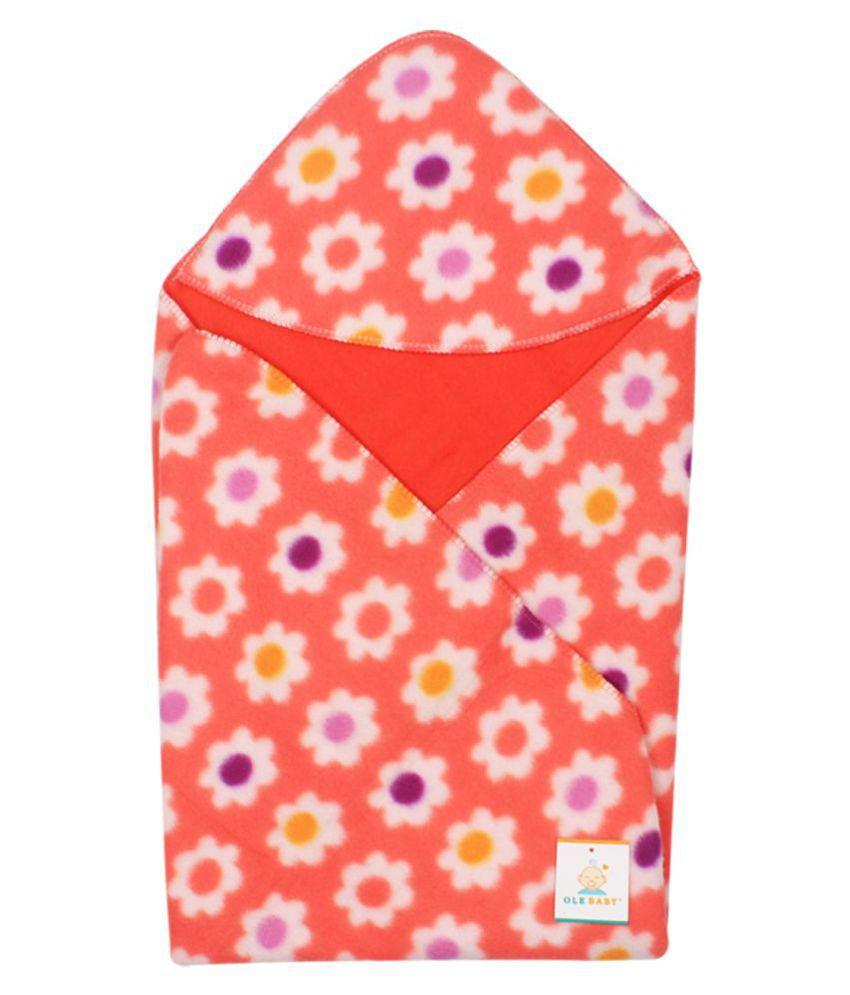 Ole Baby Orange Cotton Baby Wrap cum blanket ( 34 cm × 34 cm - 1 pcs)