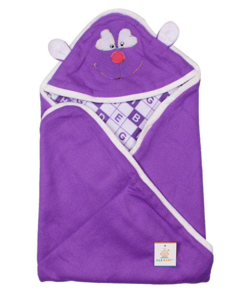 Ole Baby Purple Cotton Baby Wrap cum blanket ( 32 cm × 32 cm - 1 pcs)