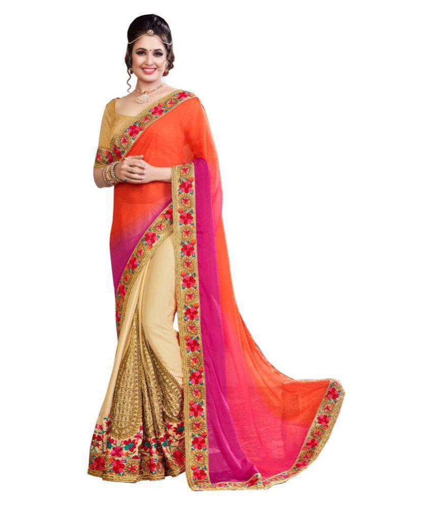 Aarti Apparels Multicoloured Chiffon Saree