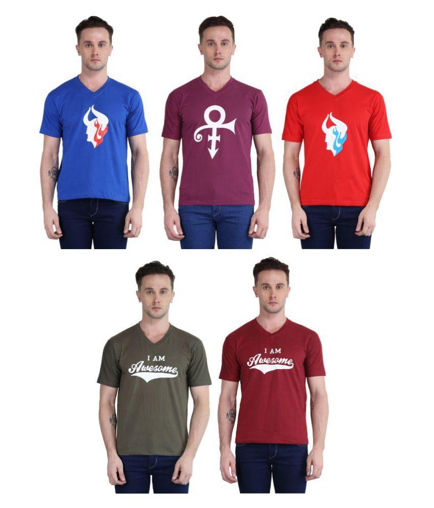 British Terminal Multi V-Neck T-Shirt Pack of 5