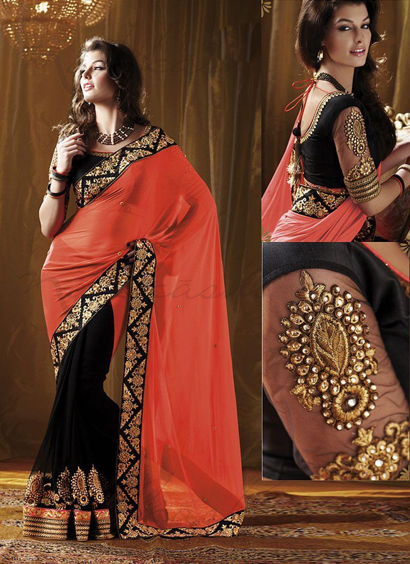 meera fashion orange georgette saree buy meera fashion orange