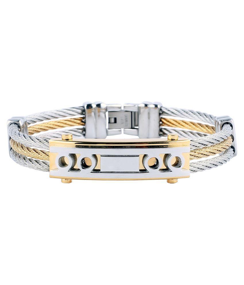 Handluv Pleasing Two Tone Stainless Steel Bracelet For Men