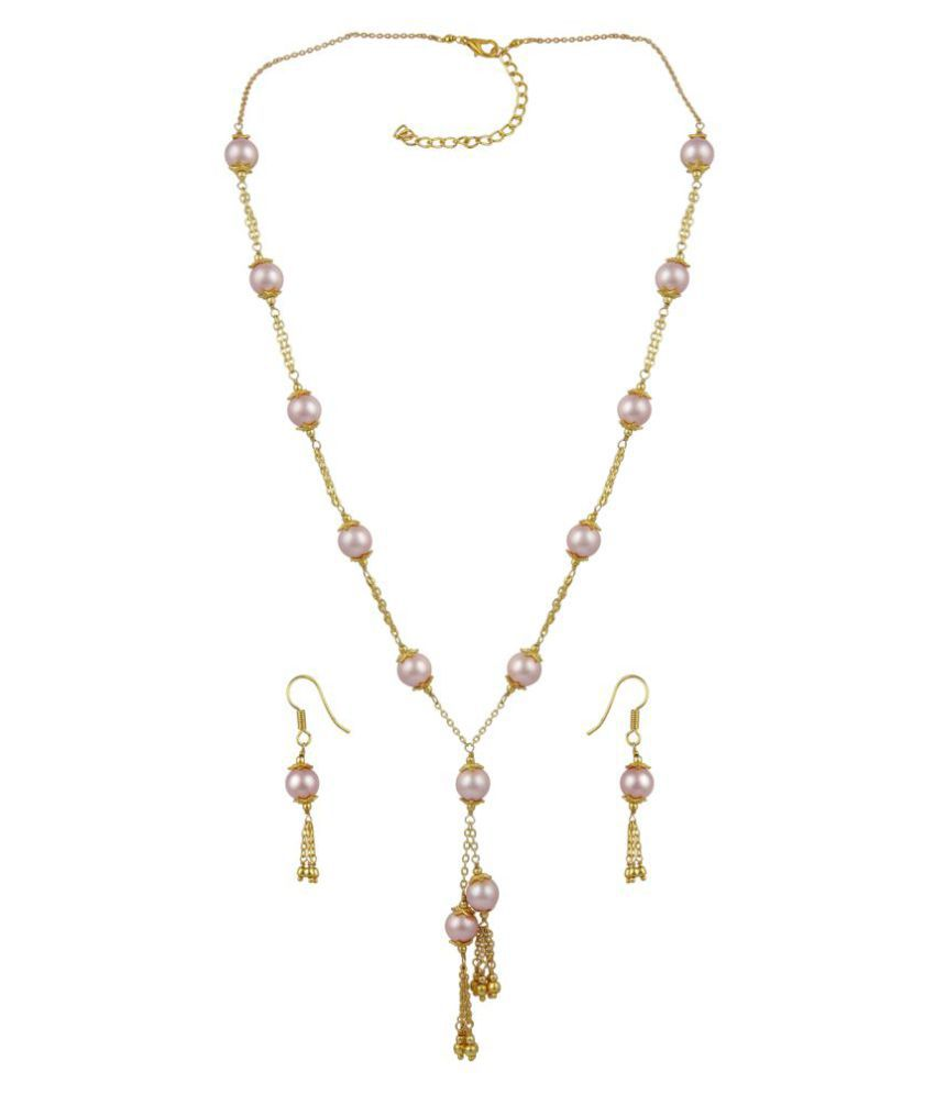Pearl Necklace Set Desgined Pink Stoned Necklace In Round Shape With Angelic Earring