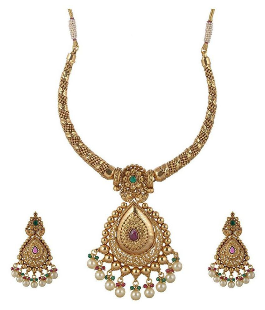 Onnet 22K One Gram Gold Plated Incredible Pendant Necklace Set With Pearl Earrings for Women (ON043)