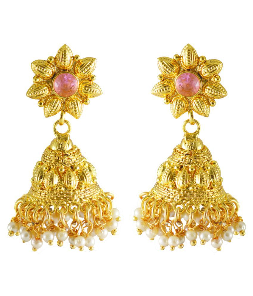 Rejewel Earrings In Pink Stone For Girls