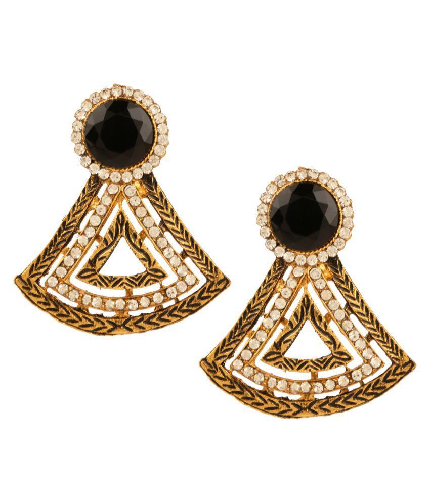 Lalso Beautiful Black Bollywood Style Meenakari Top Earrings - LAE77_BK