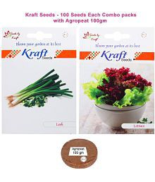 Leek Veg And Lettuce Iceberg Veg Combo Seeds With Agropeat 100gm By Kraft Seeds