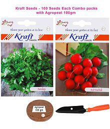 Radish Red Round Veg And Parsley Veg Combo Seeds With Agropeat 100gm By Kraft Seeds