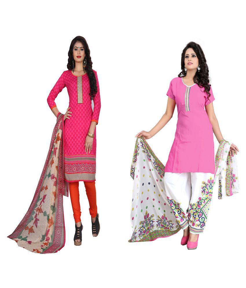 BuyerHub Pink and White Polycotton Dress Material