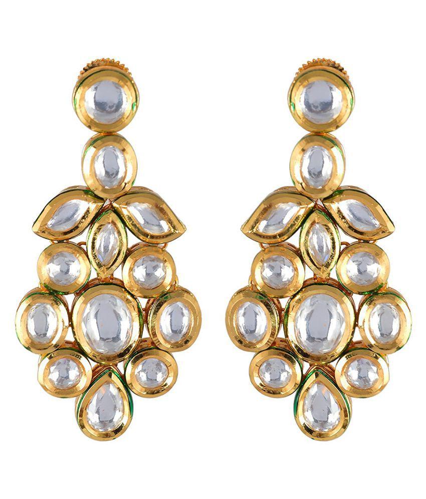 Traditional Kundan Meena Desginer Stylish Party Wear Dangler Earring For Girls / Women