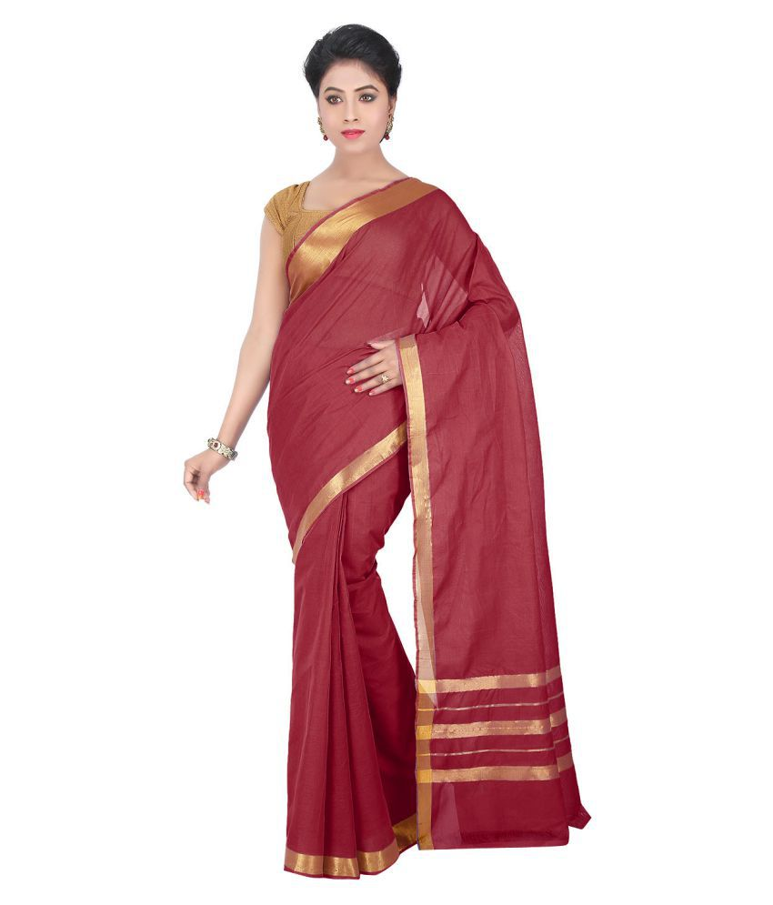 Pratamika Red Cotton Saree