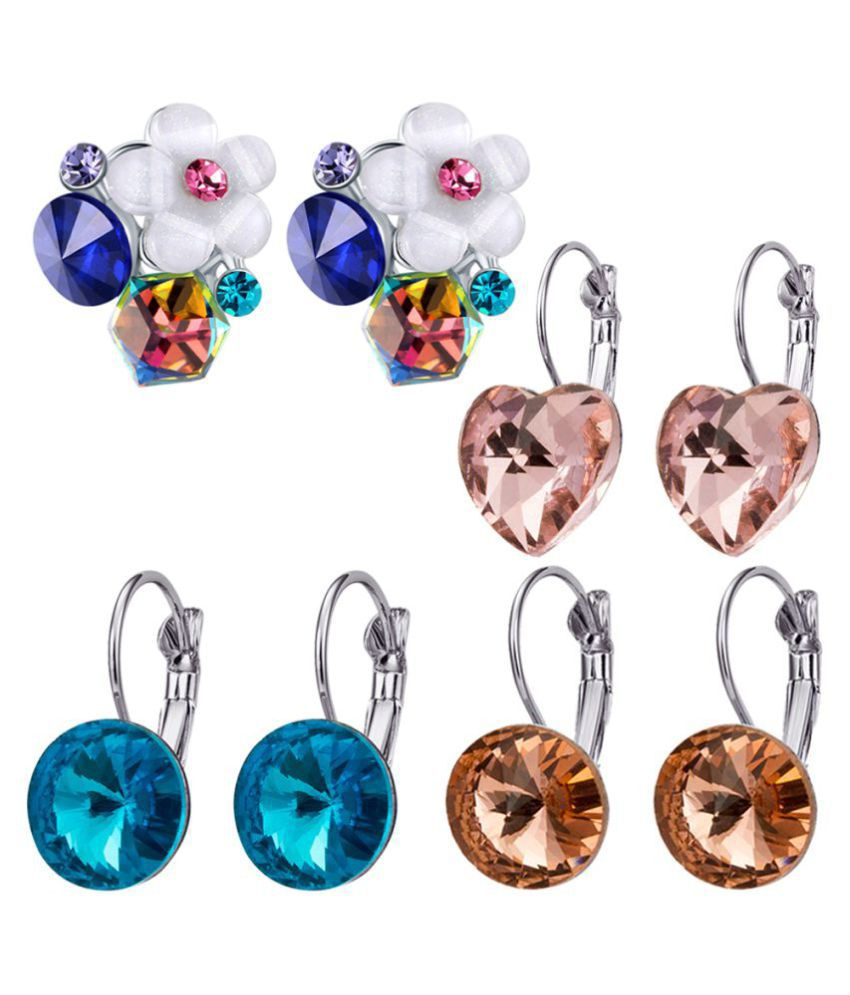 Jewels Galaxy Intriguing Matrix Crystal Elements Luxuria Floral & Heart-Shaped Mesmerizing Multicolor Pair Of Stud Earrings Combo For Girls - Pair of 4
