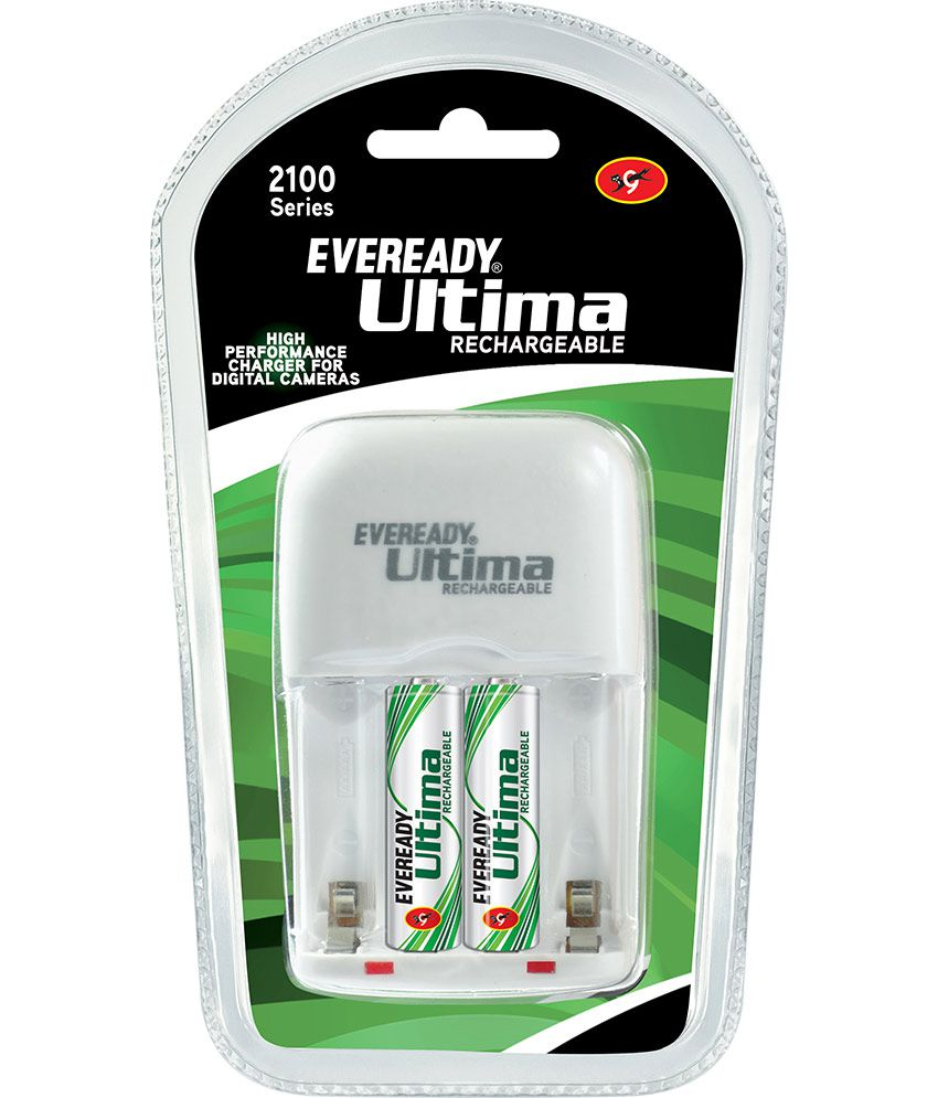 Eveready Ultima Rechargeable Nimh 2100 Mah 2 Pc batteries with AA AAA charger for Camera