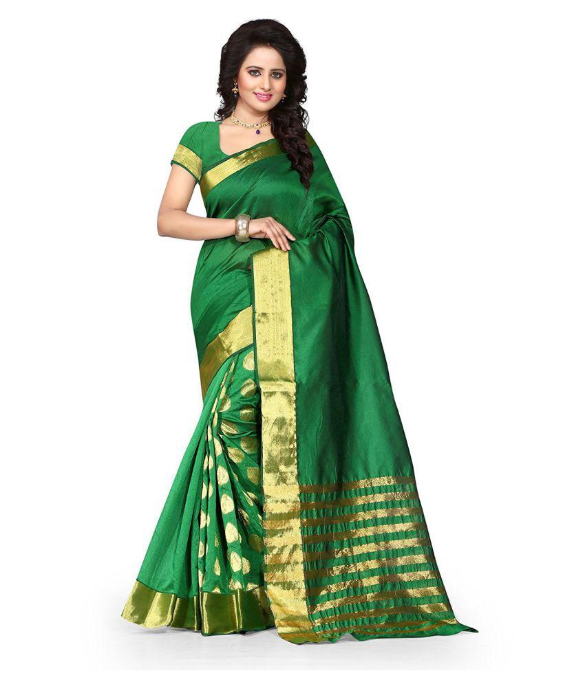 Radiance Star Green Cotton Silk Saree